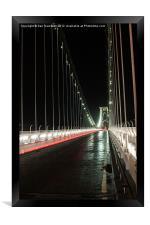 light trails on Clifton Bridge, Framed Print