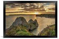 Three Cliffs Sunset, Framed Print