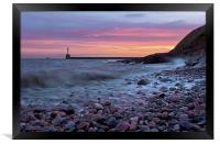 Aberdeen South breakwater light at dawn, Framed Print