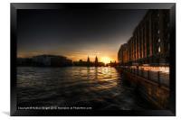 Old docks sunset., Framed Print