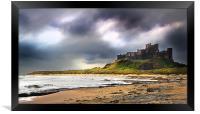 Stormy sky over Bamburgh Castle, Framed Print