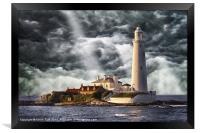 Stormy Skies at St Marys Lighthouse, Framed Print