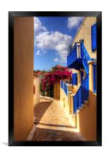 Blue paint and Bougainvillea, Framed Print