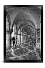 Doge's Palace Colannade - B&W, Framed Print