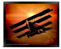 The Bloody Red Baron's Fokker at Sunset, Framed Print