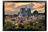 Arundel Cathedral and Village Rooftops, Framed Print