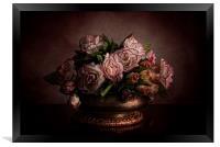 Roses in brass bowl, Framed Print