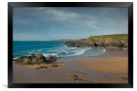 Porthcothan beach cornwall, Framed Print
