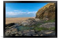 Perranporth beach Cornwall, Framed Print