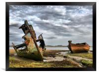 Wrecks at Fleetwood Marsh., Framed Print