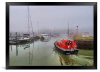 Pilot boat in foggy Lowestoft., Framed Print