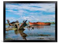 Wrecks in Water.  , Framed Print