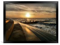 Sunset at Cleveleys Lancashire., Framed Print
