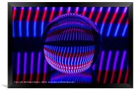 Red and Blue in the glass ball, Framed Print
