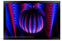 Blue and red in the glass ball., Framed Print