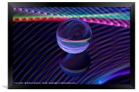 Abstract art Checkered lines in the glass ball, Framed Print