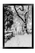 Kissing Gate In The Snow, Framed Print