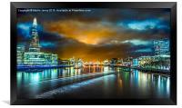 Last Light over London's City Lights, Framed Print