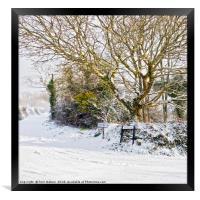 Snow In Mylor Bridge, Framed Print