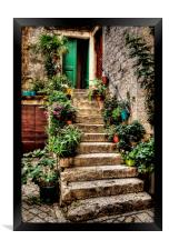 Courtyard Steps, Framed Print