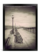 Swanage Pier Black and White Antiqued, Framed Print