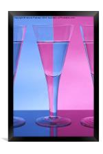 Pink & Blue Wine Glasses, Framed Print