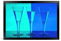 Three Wine Glasses in Blue, Framed Print