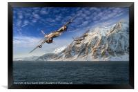 RAF Mosquitos in Norway fjord attack, Framed Print