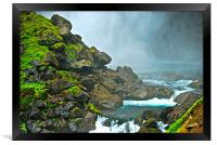 waterfall misty moss rocks, Framed Print