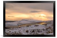Snow Covered Trotternish Ridge Toward Sundown, Framed Print