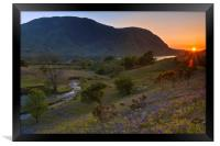 Rannerdale Valley Bluebells at Sunset, Framed Print