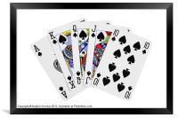 Playing Cards, Royal Flush on White Background, Framed Print
