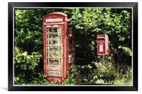 Old Red Telephone Box Old Red Letter Box, Framed Print