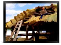 Thatching the Wellhouse, Framed Print