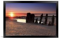 Ardrossan Wreck Beach Sunset, Framed Print