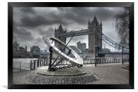 Tower Bridge & Sundial, Framed Print