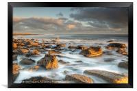 Holy Islands Sunkissed Rocks, Framed Print