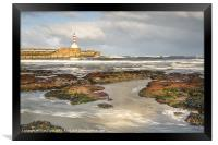 Amble Pier Waves, Framed Print