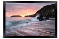 Sunset Waves at Marloes Sands, Framed Print