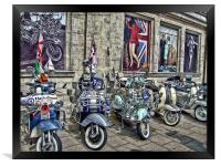 Mod scooters and 60s fashion, Framed Print