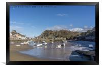 """Ifracombe Harbour with """"Verity"""" in the background, Framed Print"""