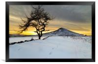 Winter Sunset Roseberry Topping Teesside, Framed Print