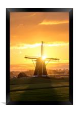 Sunrise windmill, Framed Print