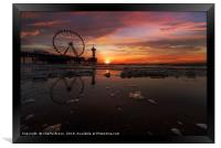Sunset at The Hague beach, Framed Print
