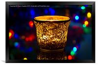Festive candle and Bokeh, Framed Print