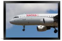 Swiss Airlines Airbus A320, Framed Print