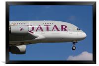 Qatar Airlines Airbus A380, Framed Print