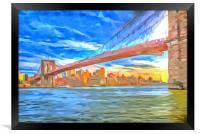 Brooklyn Bridge Pop Art, Framed Print