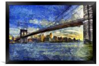 Brooklyn Bridge Van Gogh, Framed Print