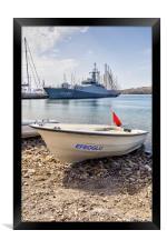 Turkish Navy Ship And Dinghy, Framed Print